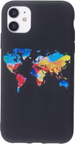 Coque iPhone 12 mini - Silicone Mat colorful map
