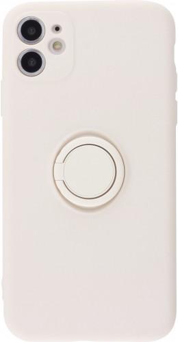 Coque iPhone 11 - Soft Touch avec anneau blanc cassé