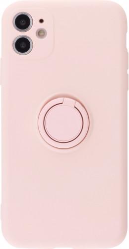 Coque iPhone 11 - Soft Touch avec anneau rose