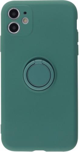 Coque iPhone 11 - Soft Touch avec anneau vert foncé