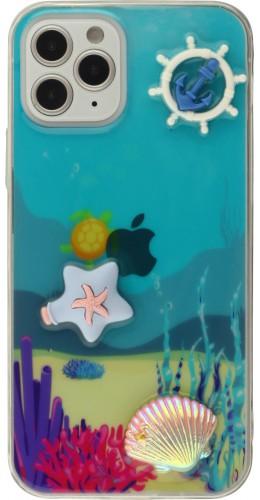 Coque iPhone 12 / 12 Pro - 3D Océan barre balnc et étoile de mer