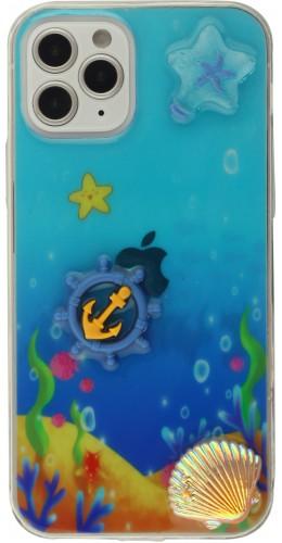 Coque iPhone 12 / 12 Pro - 3D Océan barre bleu et étoile de mer