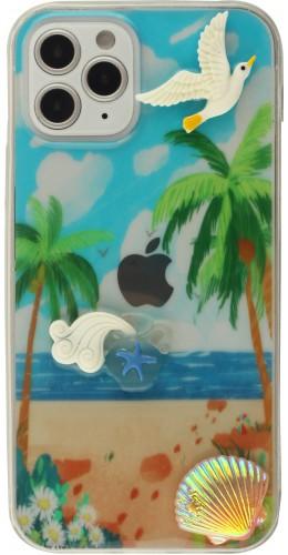 Coque iPhone 12 / 12 Pro - 3D Plage mouette et palmier