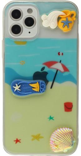 Coque iPhone 12 / 12 Pro - 3D Plage tongs et parasol