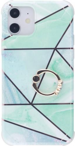 Coque iPhone 12 / 12 Pro - Bright Line avec anneau turquoise