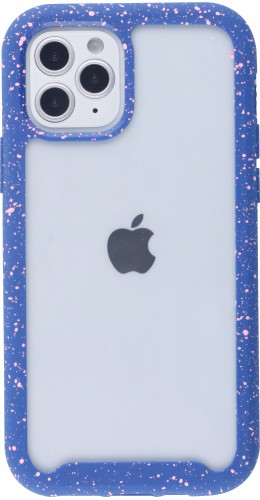 Coque iPhone 12 mini - Bumper 360 Clear Splash paint bleu