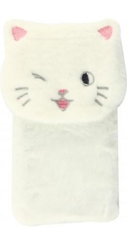 Coque iPhone 12 mini - Fluffy chat peluche blanc