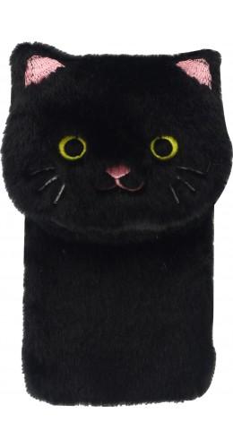 Coque iPhone 12 mini - Fluffy chat peluche noir