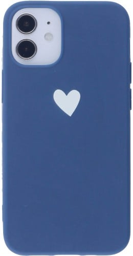 Coque iPhone 12 mini - Gel coeur bleu