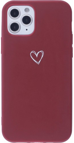 Coque iPhone 12 Pro Max - Gel coeur rouge