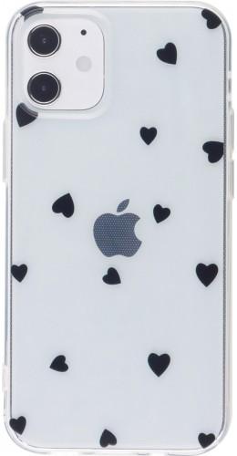 Coque iPhone 12 / 12 Pro - Gel petit coeur noir