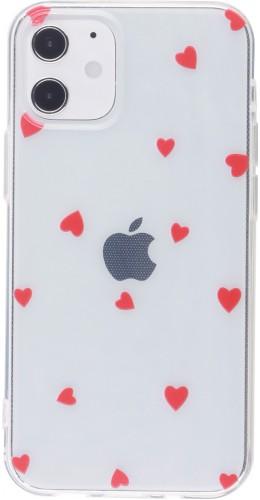 Coque iPhone 12 mini - Gel petit coeur rouge