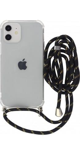 Coque iPhone 12 / 12 Pro - Gel transparent avec lacet noir or