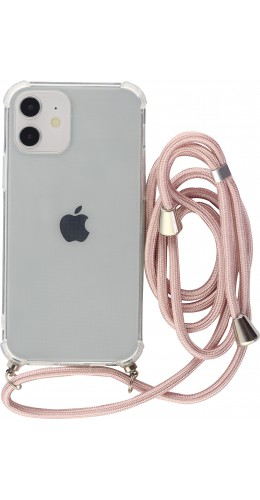 Coque iPhone 12 mini - Gel transparent avec lacet or rose