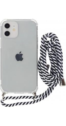 Coque iPhone 12 mini - Gel transparent avec lacet rayé blanc noir