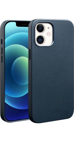Coque iPhone 12 / 12 Pro - Qialino cuir véritable (compatible MagSafe) bleu