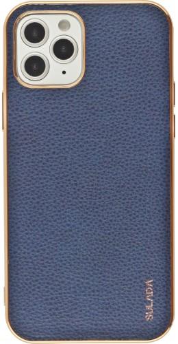 Coque iPhone 12 / 12 Pro - SULADA Gel Bronze et cuir véritable bleu