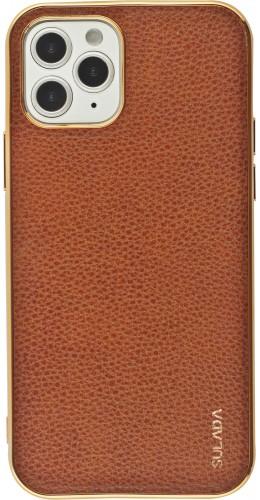 Coque iPhone 12 / 12 Pro - SULADA Gel Bronze et cuir véritable brun