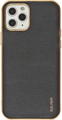 Coque iPhone 12 / 12 Pro - SULADA Gel Bronze et cuir véritable noir