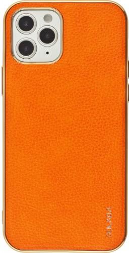 Coque iPhone 12 / 12 Pro - SULADA Gel Bronze et cuir véritable orange