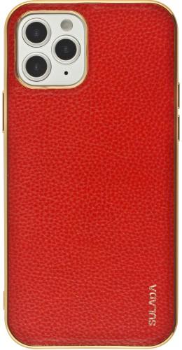 Coque iPhone 12 / 12 Pro - SULADA Gel Bronze et cuir véritable rouge