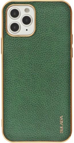 Coque iPhone 12 / 12 Pro - SULADA Gel Bronze et cuir véritable vert