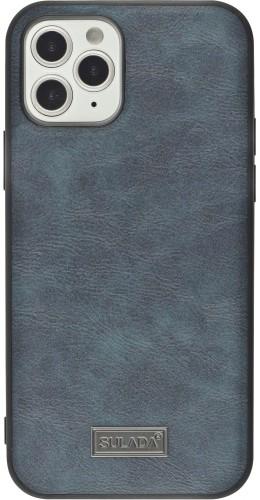 Coque iPhone 12 / 12 Pro - SULADA Silicone et cuir véritable bleu