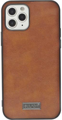 Coque iPhone 12 / 12 Pro - SULADA Silicone et cuir véritable brun