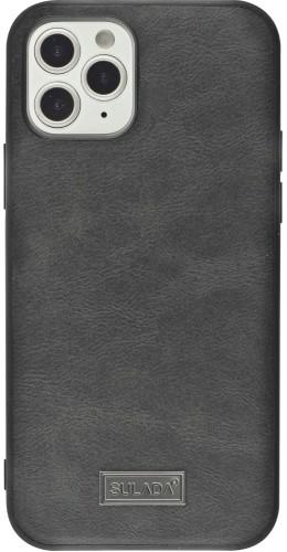 Coque iPhone 12 / 12 Pro - SULADA Silicone et cuir véritable noir