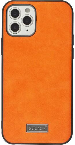 Coque iPhone 12 / 12 Pro - SULADA Silicone et cuir véritable orange