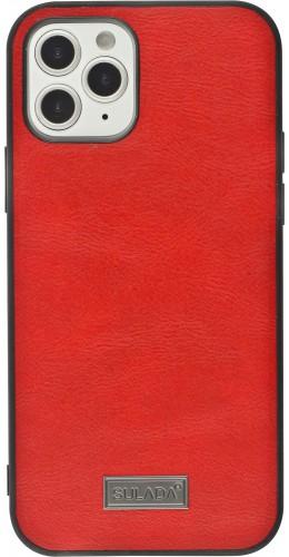 Coque iPhone 12 / 12 Pro - SULADA Silicone et cuir véritable rouge