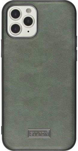 Coque iPhone 12 / 12 Pro - SULADA Silicone et cuir véritable gris