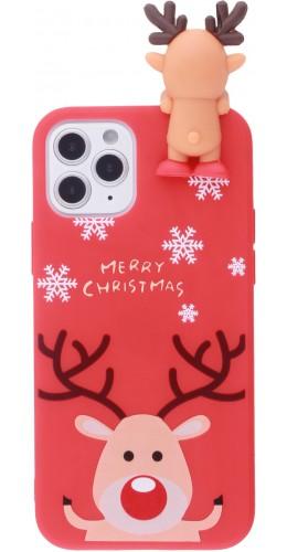 Coque iPhone 12 mini - Silicone Noël renne 3D