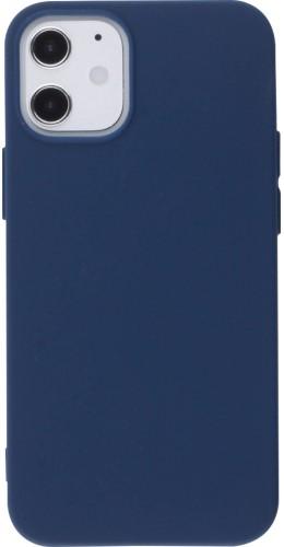 Coque iPhone 12 mini - Silicone Mat bleu foncé
