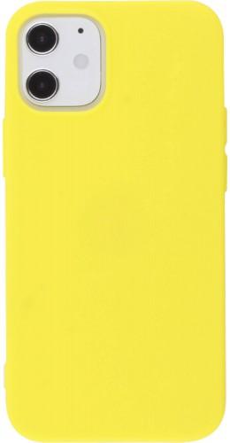 Coque iPhone 12 mini - Silicone Mat jaune