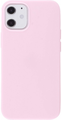 Coque iPhone 12 mini - Silicone Mat rose clair