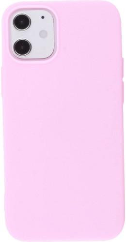 Coque iPhone 12 mini - Silicone Mat rose clair