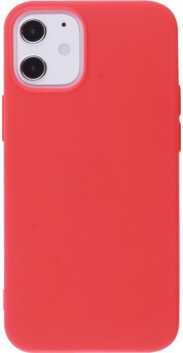 Coque iPhone 12 mini - Silicone Mat rouge