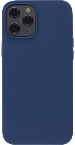 Coque iPhone 12 Pro Max - Silicone Mat bleu foncé