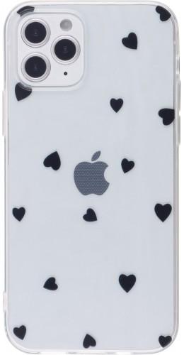 Coque iPhone 12 Pro Max - Gel petit coeur noir