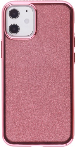 Coque iPhone 12 mini - Bumper Diamond strass or rose