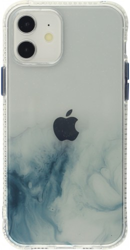 Coque iPhone 12 mini - Clear Bumper gradient paint bleu clair
