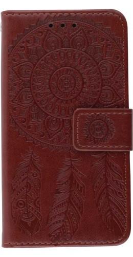 Coque iPhone 12 mini - Flip Dreamcatcher brun