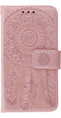 Coque iPhone 12 mini - Flip Dreamcatcher rose clair