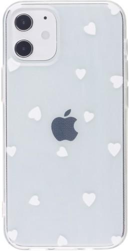Coque iPhone 12 mini - Gel petit coeur blanc