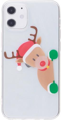 Coque iPhone 12 mini - Gel transparent Noël renne