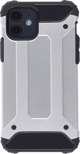 Coque iPhone 12 mini - Hybrid carbon argent