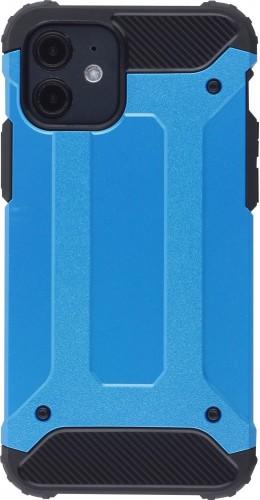 Coque iPhone 12 mini - Hybrid carbon bleu