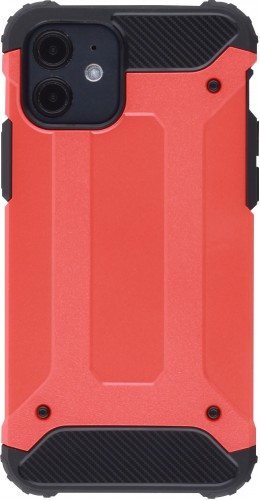 Coque iPhone 12 mini - Hybrid carbon rouge