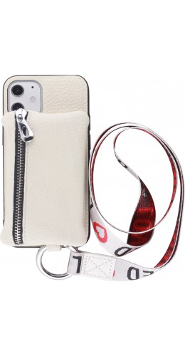 Coque iPhone 12 mini - Wallet Poche avec cordon blanc